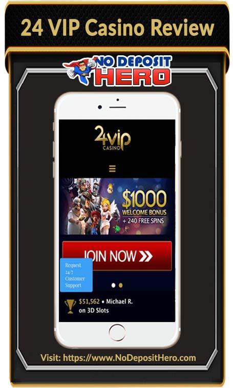 24 VIP Casino No Deposit Bonus Code