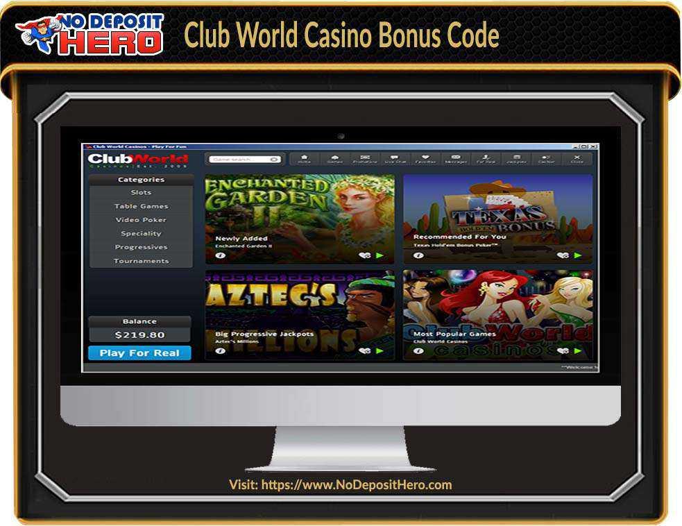 Club World Casino Bonus Code