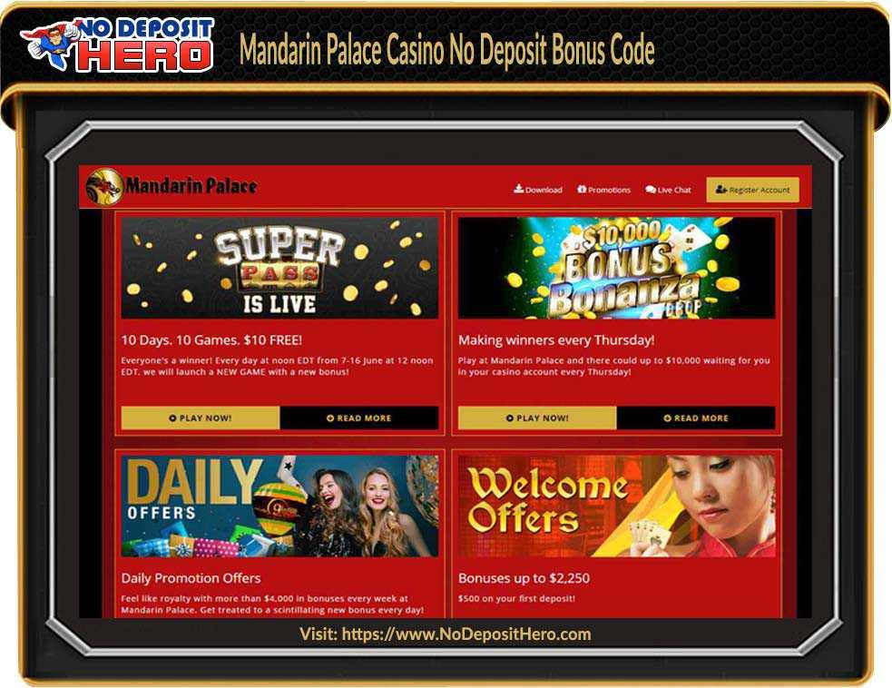 Mandarin Palace Casino No Deposit Bonus Code