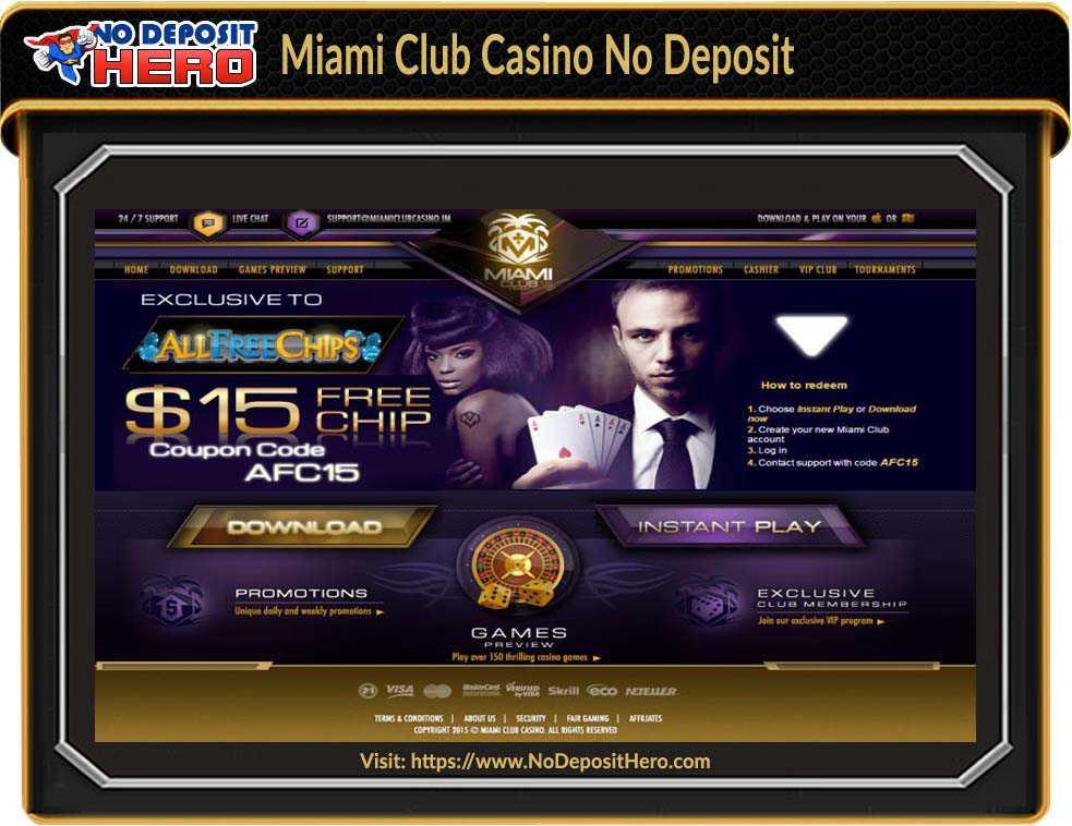 Miami Club Casino No Deposit Bonus Code